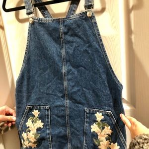 TOPSHOP embroidered overalls dress
